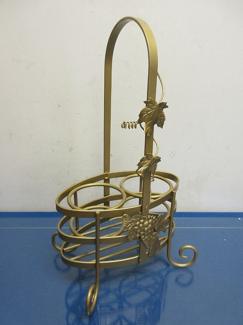"""Gold metal 2 bottle wine caddy, 15"""" tall"""