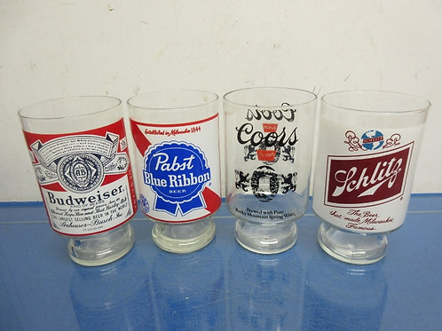 Set of 4 large beer glasses various beer brands