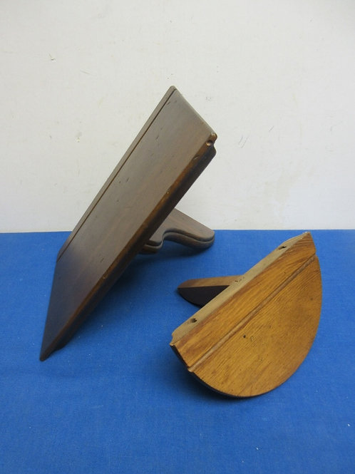 """Pair of small wood shelves with plate grooves, round 8""""wide, rectangular 8x12"""