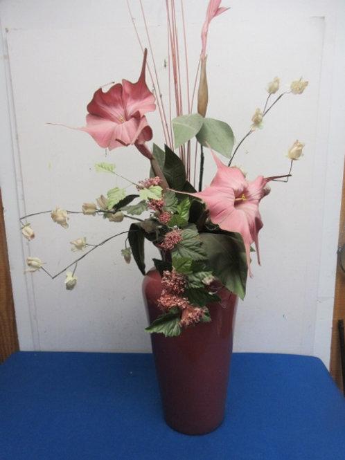 "Large floral arrangement in mauve vase,36"" tall"