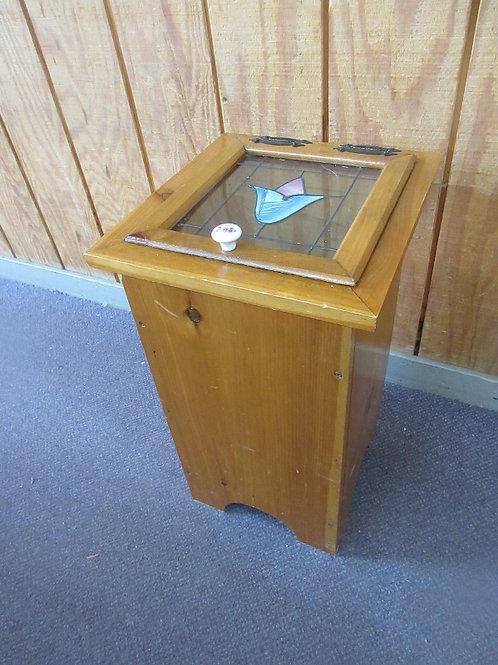 "Wooden potato bin with plexi glass see thru lid - 14x14x23"" high"