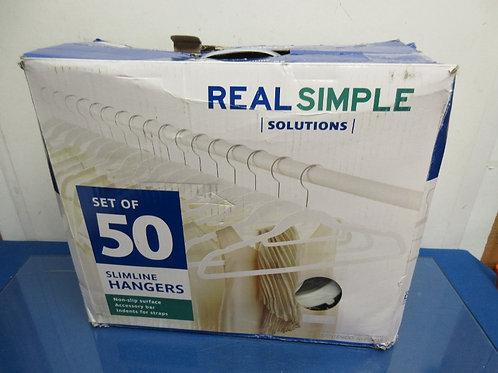 Real simple set of 50 flocked slim line hangers