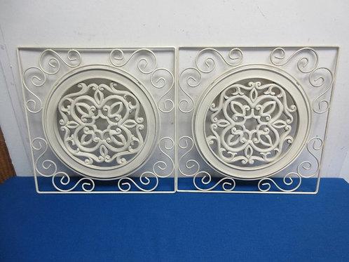 Set of 2 white metal square ornate wall hanging