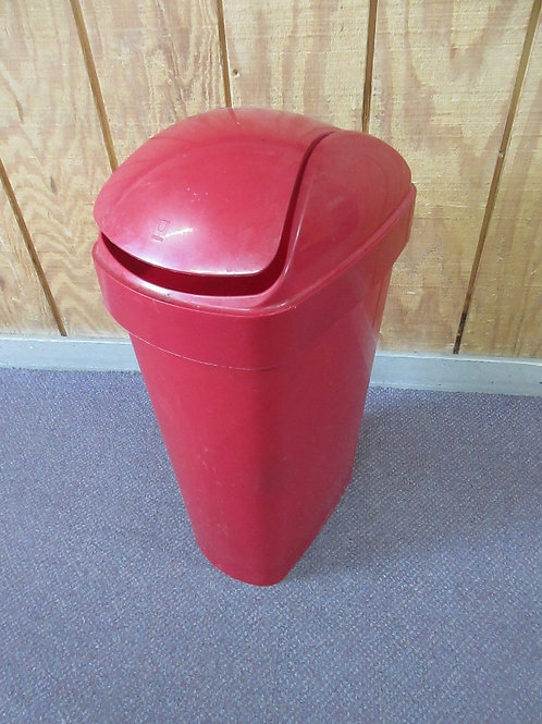 """Red plastic waste container with flip lid, 24"""" high"""