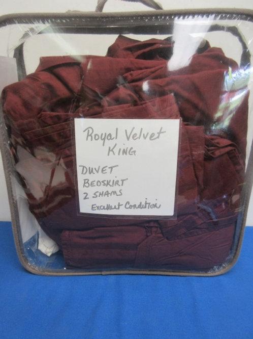 Royal Velvet King set - duvet/bedskirt/2 shams - burgundy
