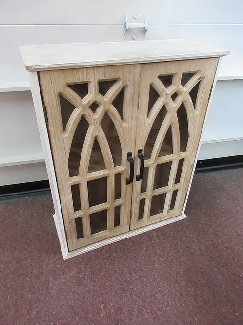 """Winson House double ornate door distressed white wood wall cabinet 8x19x24"""" high"""