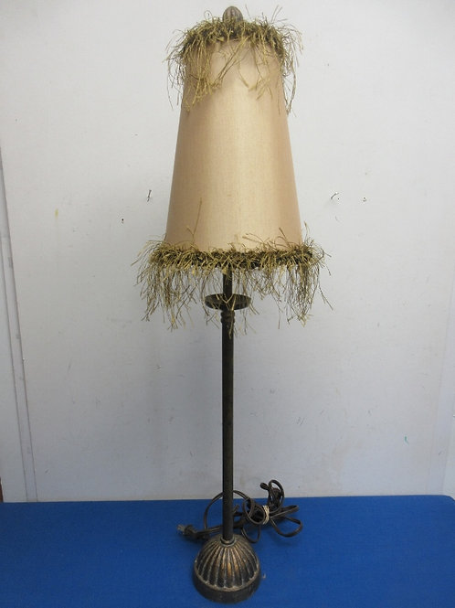 """Stick buffet style lamp with feather detail on shade, 30"""" tall"""