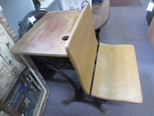 Vintage cast iron base school desk with ink well hole. Flip down front, seat