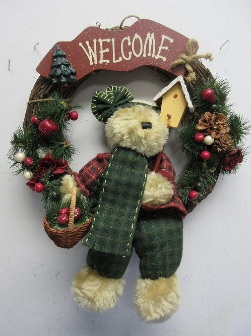 "Welcome vine wreath w/Teddy bear holding birdhouse, 13"" dia"