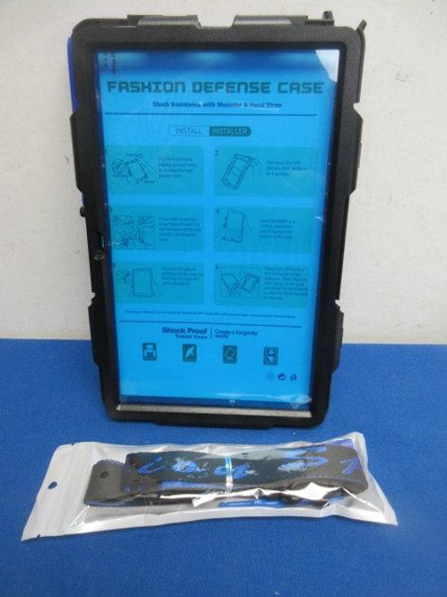 Fashion Defense case shock resistance w/shoulder & hand strap, blue/black