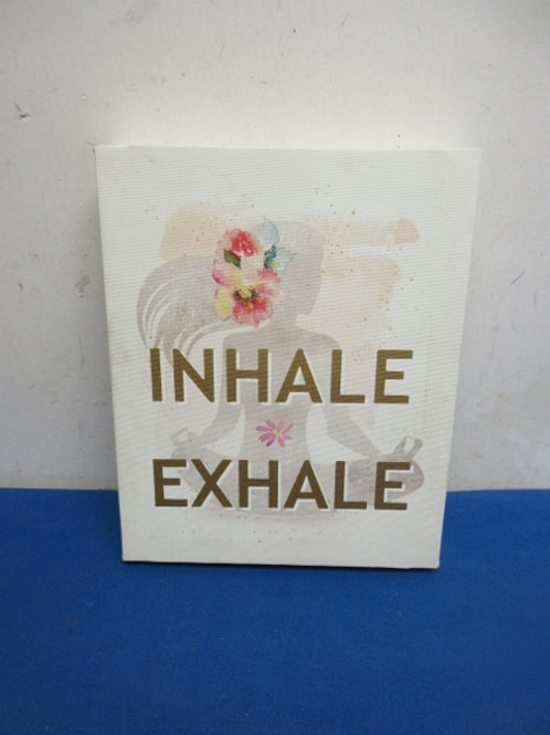 """Stretched vinyl wall hanging """"inhale, exhale"""""""
