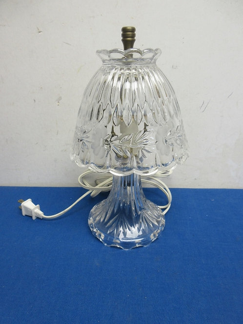 Small cut glass lamp with glass shade