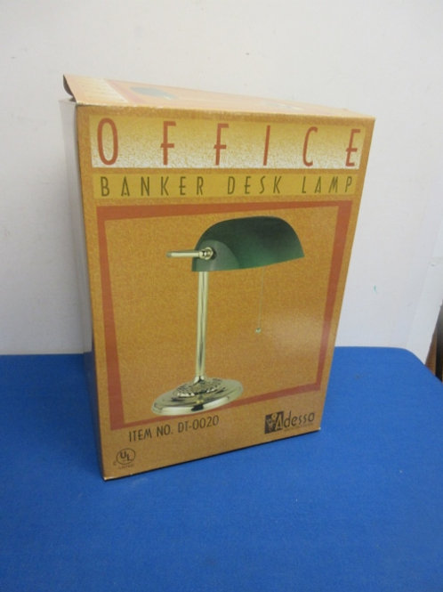 Office bankers desk lamp with glass green shade