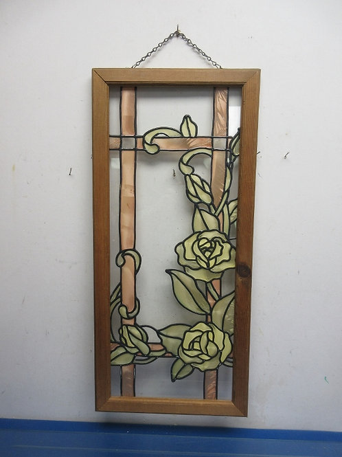 """Stained glass style rose design wall hanging wood frame 12x18"""""""