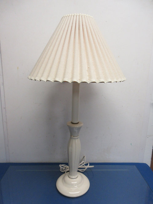 """Vintage ivory ceramic candle stick lamp with pleated ivory shade 28""""high"""