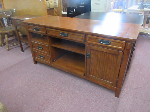 Heavy dark tone computer desk with keyboard tray, printer shelf, file drawer and