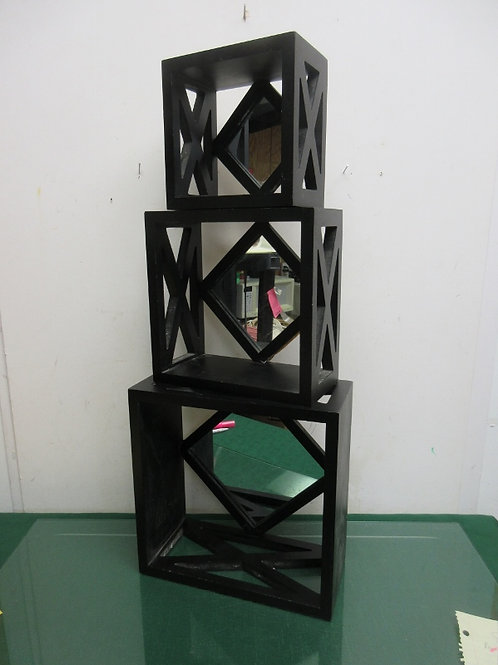 """Set of 3 black hanging shadow boxes with mirror backgrounds 11x11, 9x9, 7x7"""""""