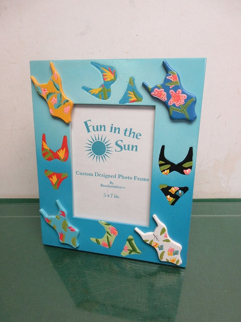 Blue wooden picture frame with bikini swim wear accents, 9x11