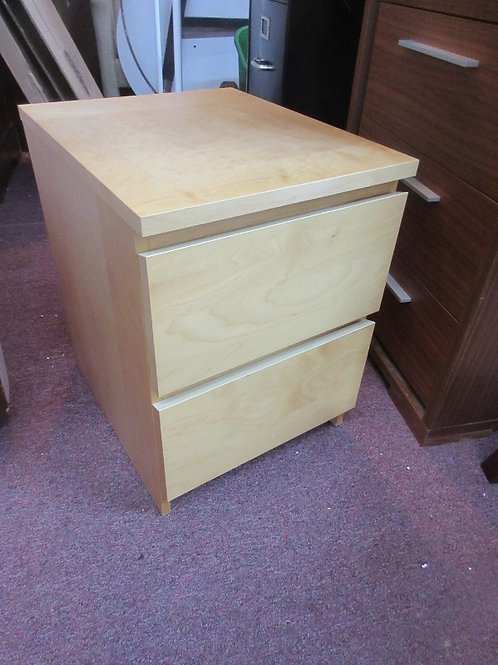"Small 2 drawer blond night stand, 16x19x21""high"