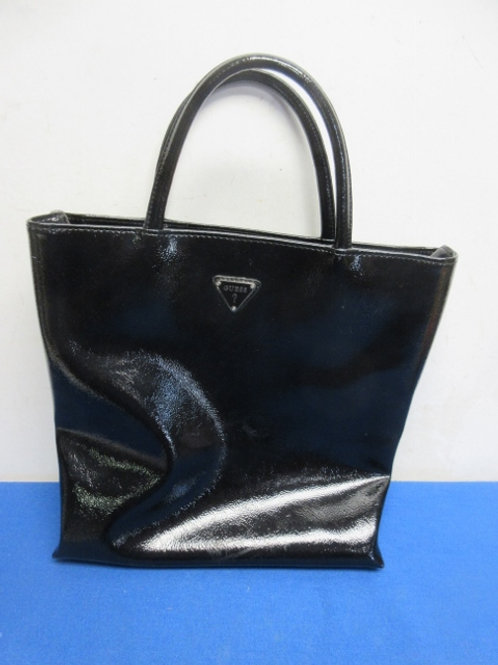 Guess black patent leather tote style purse