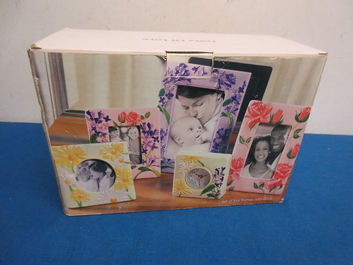 Set of 4 hand painted floral design picture frames and a clock, new in box