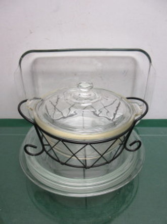 Pyrex 5 pc set, round casserole with lid & metal stand, one 9x13 pan & 3 pie pla
