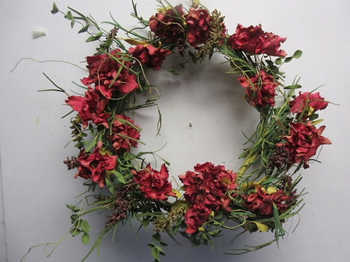 """Large red flower wreath, 14"""" dia"""