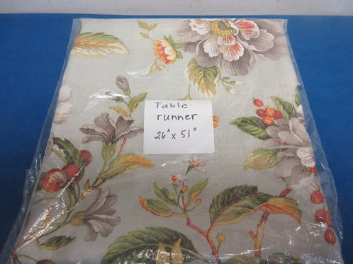 """Floral table runner, 26x51"""""""