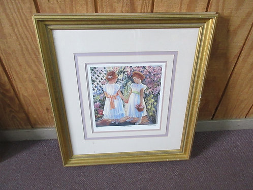 """Numbered print by Irene Borg - """"Little Girls"""" with multiple mat layers in gold f"""