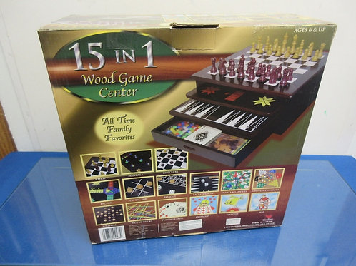Wood game center -15 games, chess, checkers, parchessi, & more