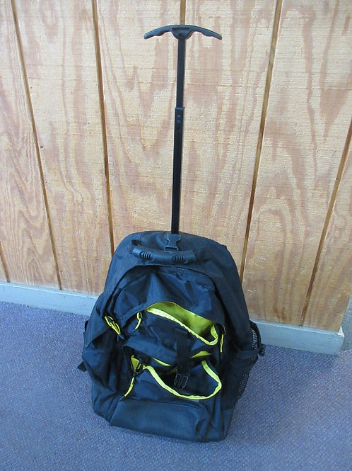 Black Mossimo back pack with wheels and pull handle