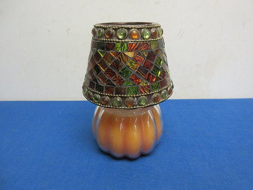 Orange jar candle with jeweled glass shade