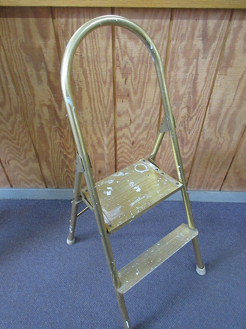 Aluminum gold folding 2 step ladder with arched handle, Some Wear