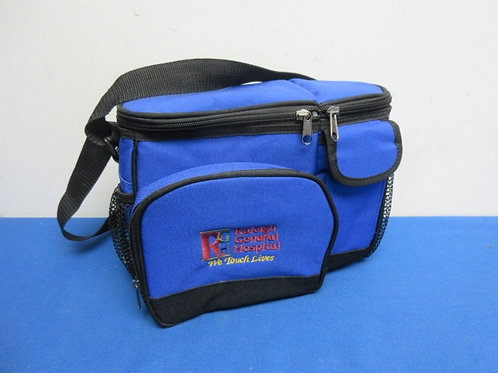 Blue insulated lunch bag with assorted divided compartments