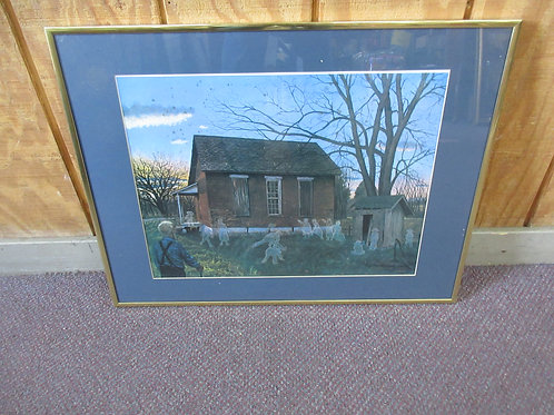 """JG McGill numbered print-New Wilmington Pa""""Recess Remembered"""" gold frame 18x24"""""""
