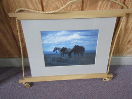 Matted photo of 2 horses on the prairie with wood hanger 18x24