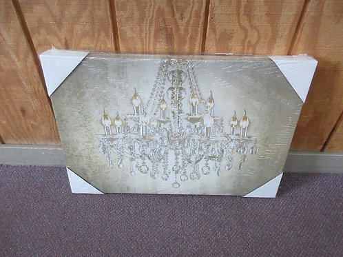 Stretched vinyl print of crystal chandelier in shades of tan and gold 16x24  - N