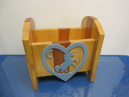 """Home made wooden CD holder with Unicorn on front 6x10x10"""" tall"""