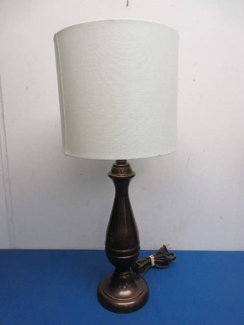 """Bronze tone table lamp with white shade,24"""" high"""