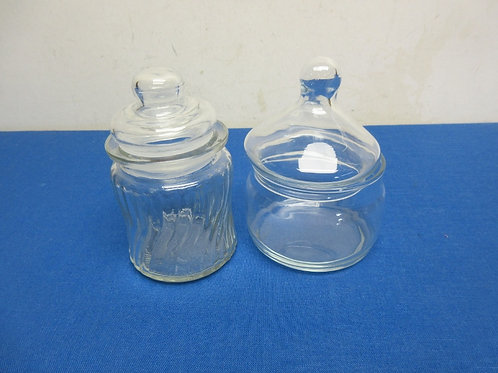 Pair of small glass jars with lids