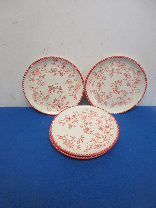 Temptations, red floral lace, set of 4 small plates