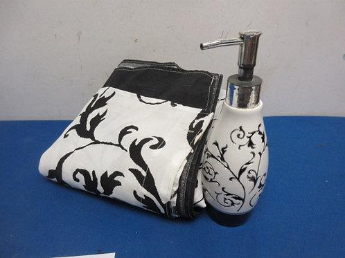 Black and white 2pc bathroom set, shower curtain & soap dispenser