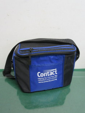 Small blue & black insulated lunch bag