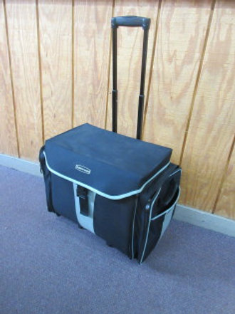 Rubbermaid black and gray picnic or sporting event carry all in one bag on wheel