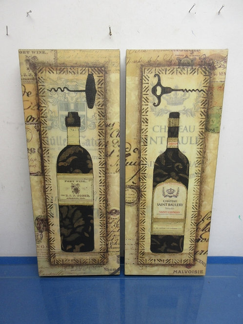 """Set of 2 vertical stretched canvas wine design wall hangings 7.5"""" x 19.5"""""""