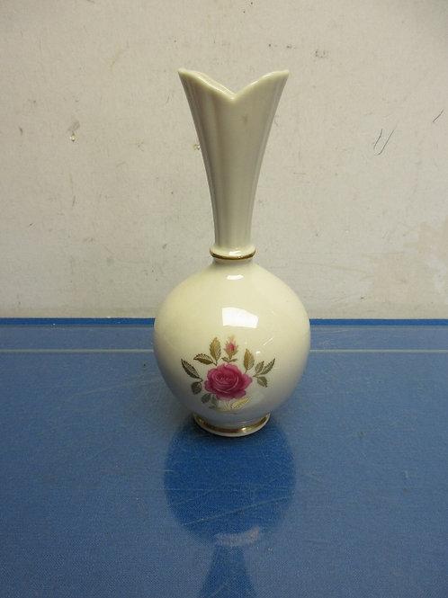 "Lenox bud vase with narrow neck & rose design 8""high"