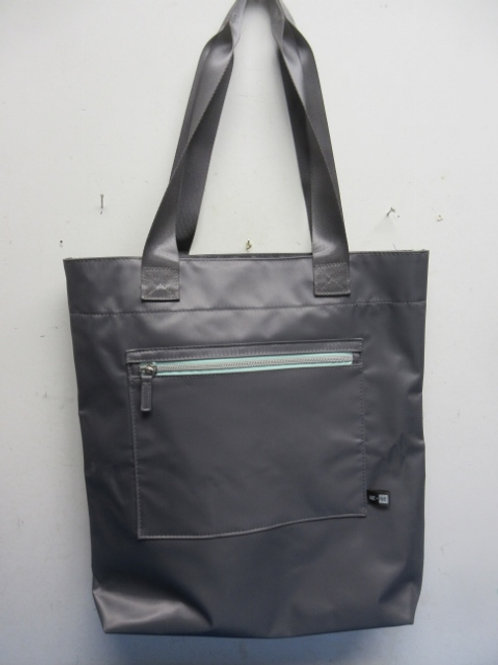 Me to We nylon silver tote bag - organizing compartments inside - new