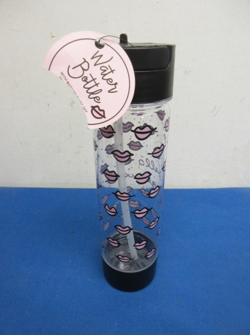 Water bottle covered with pink lips, new