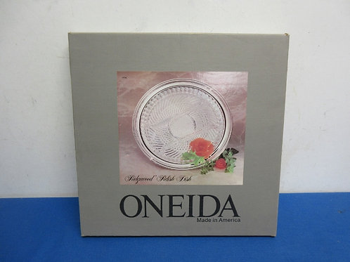 Oneida ridgewood glass relish platter with silverplated base -Never used