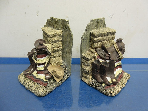 Heavy western style resin book ends